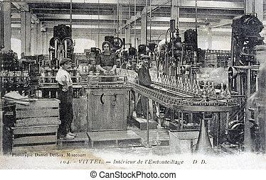 old postcard of Vittel, the factory of setting out of...