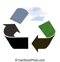 Recycle sign as pictogram with green grass