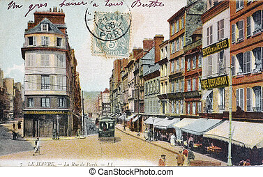 old postcard of Le Havre, the street of Paris...