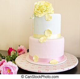 Wedding cake decorated with fondant