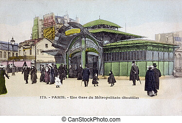 old postcard of Paris, the station of the subway with...