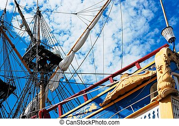 Sailing vessel and the sky - Ancient sailing vessel with the...