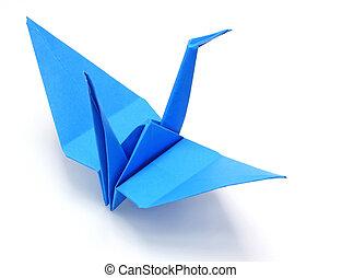 Blue origami paper crane