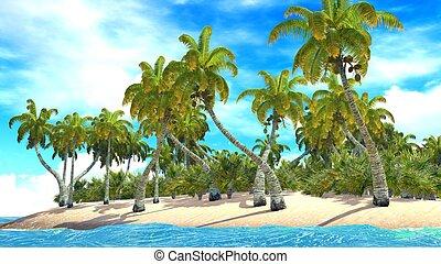 tropicais, paraisos, praia