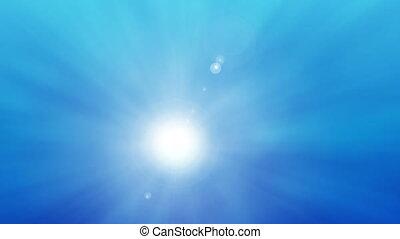 Beautiful sun over blue sky