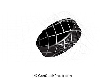Hockey Puck - Goal - a hockey puck in the net