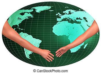 Handshake over world - Handshake over map of the world,...
