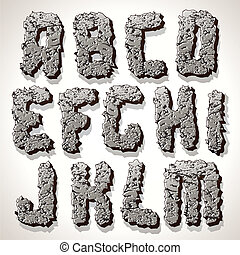Alphabet Letter Made from Old Cracked Stone Vector -...