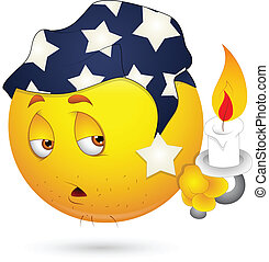 Sleepily Smiley with Candle Vector - Creative Abstract...