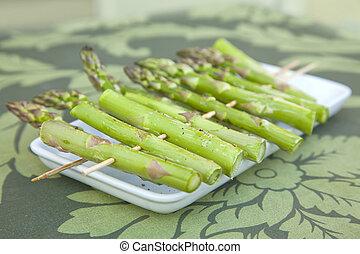 Asparagus on skewers