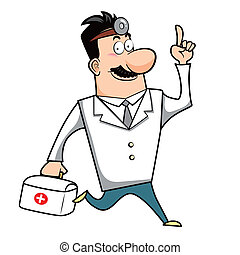 Cartoon Doctor with First Aid Kit - Vector illustration of a...