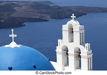 Blue domed church on Santorini - Classic Santorini view with...