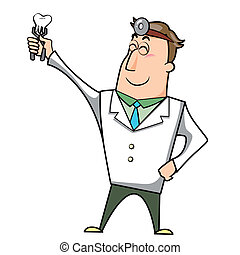 Cartoon Doctor with Tooth - Vector illustration of a cartoon...
