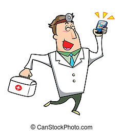 Cartoon Doctor with First Aid Kit and Mobile Phone - Vector...