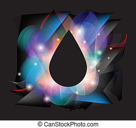 Colorful drop concept  On a black drop can be written text