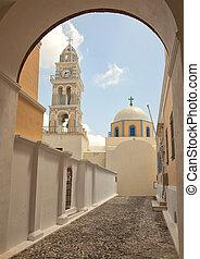 catholic cathedral in Fira, Santorini