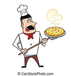 Cartoon Chef with Pizza - Cartoon chef with pizza vector...
