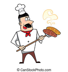 Cartoon Chef with Fresh Bread