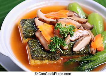 Crispy beancurd and mushroom dish - Asian braised tofu and...