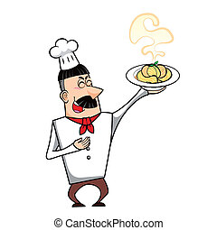 Cartoon Chef with Pasta Bowl - Cartoon chef with pasta bowl...