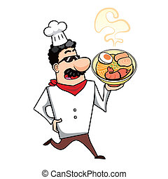Cartoon Chef with Ramen Bowl - Cartoon chef with ramen bowl...