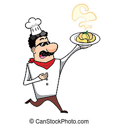 Cartoon Chef with Pasta Bowl