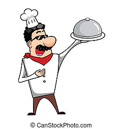 Cartoon Chef with Serving Tray - Cartoon chef with serving...