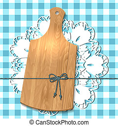 Gift of cutting board on the tablecloth