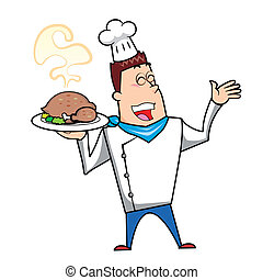 Cartoon Chef with Roast Turkey - Cartoon chef with roast...
