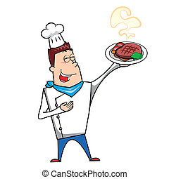 Cartoon Chef with Steak Dinner - Cartoon chef with steak...