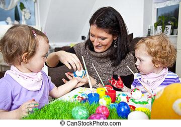 Easter - Little Familiy painting easter eggs