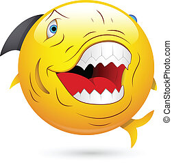 Evil Shark Fish Smiley Vector - Creative Abstract Conceptual...