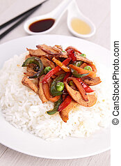 rice with fried vegetables and chicken