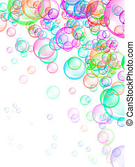 Soap Bubbles Background - Colorful soap bubbles on white...