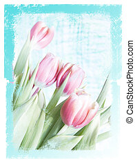Dreamy floral paper - an image/ illustration of tulips with...
