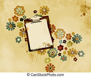 Grungy stained clipboard - illustration of a clipboard with...