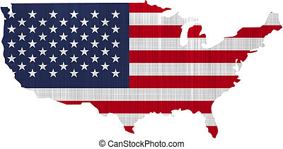 USA Flag Map on a white background