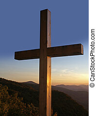 Cross overlooking the mountains. - Mountains and a cross.