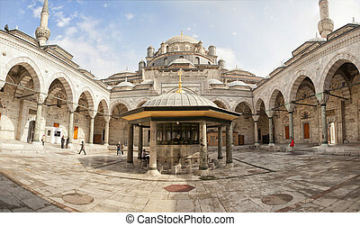 Mosque courtyard of Beayazit, Istanbul, Turkey.