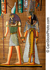 Egyptian scroll painting - Beautiful egyptian papyrys...