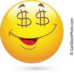 Dollar Eyes Smiley Face - Creative Abstract Conceptual...