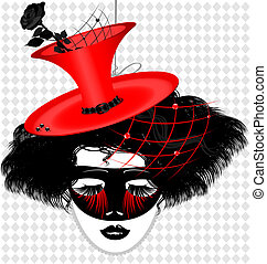 image of an dame in carnival mask - outlines womans face...