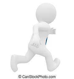 3D man running Isolated render on a white background