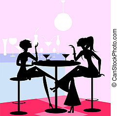 girls in the cafe - in a abstract cafe are two girl friends
