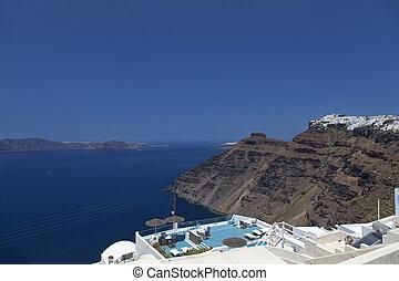 Santorini Panorama - A panoramic image from Santorini of the...