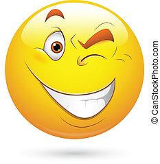 Blinking Eye Smiley Face Vector - Creative Abstract...