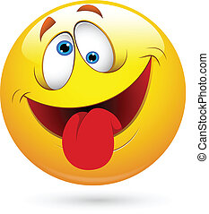 Tongue Out Funny Smiley Face Vector - Conceptual Drawing Art...