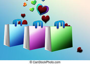 Shopping for love - an illustration of shopping bags with...
