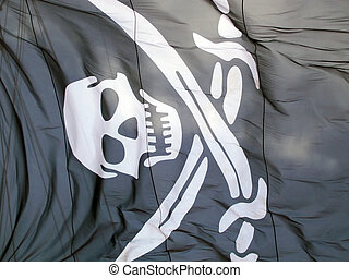 Pirate flag - an image of a blck pirate flag with a scull...