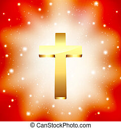 golden cross on light rays background